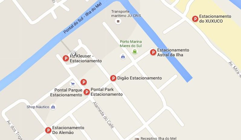 mapa com estacionamentos em pontal do sul