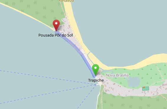 caminho do trapiche de nova brasília até a pousada pôr do sol